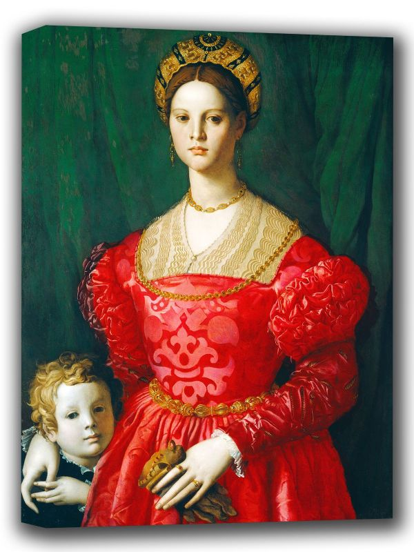 Bronzino, Agnolo: A Young Woman and Her Little Boy. Fine Art Canvas. Sizes: A4/A3/A2/A1 (001976)